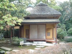 Japanese tea house: reflects the wabi sabi aesthetic, Kenroku-n Garden