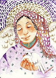 Angel and Dove, original watercolor c 2010 Gretchen Del Rio