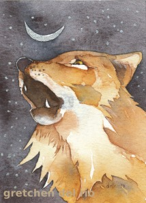 Coyote Medicine, original watercolor, (c) Gretchen Del Rio
