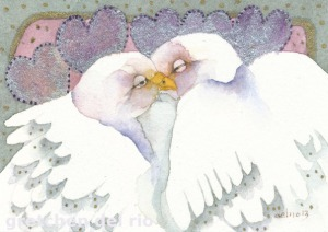 """The Kiss"" original watercolor by Gretchen Del Rio"