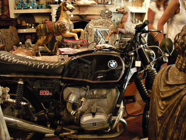 Motorcycle in antique store in Buenas Aires
