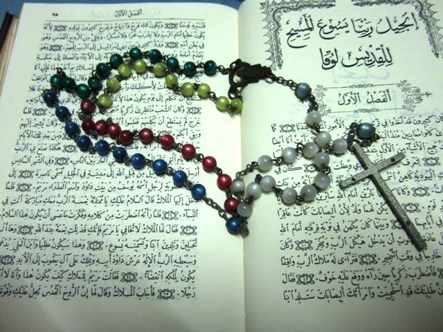My cousin Dan's Arabic Bible and my Mom's Rosary Beeds (Photo credit: Father Daniel S. Sormani, C.S.Sp.)