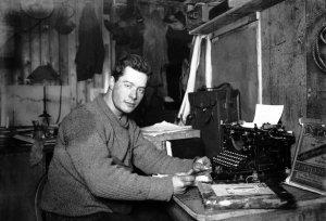 Polar explorer Apsley Cherry-Garrard in front of his typewriter in the Terra Nova hut at Cape Evans (Ross Island, Antarctica)