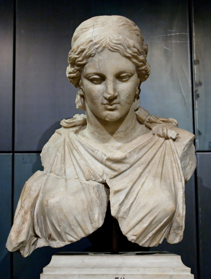 Roman marble Bust of Artemis after Kephisodotos (Musei Capitolini), Rome.