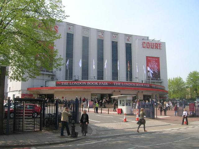 Earls Court Exhibition Centre from Warwick Road SW5, near to Kensington, Kensington And Chelsea, Great Britain. During the 2009 London Book Fair