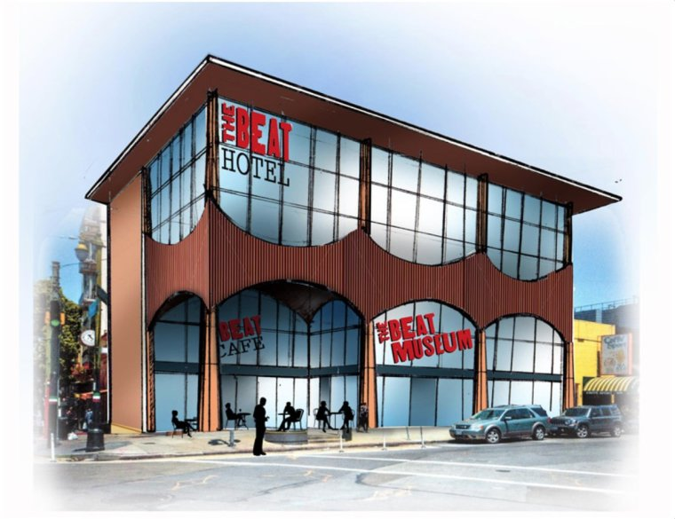 Our long-term vision for 580 Green includes an additional two floors, an expanded Beat Museum, a cafe, and a Beat Hotel. (Concept drawing by Michael Palumbo) (c) The Beat Museum/Michael Palumbo