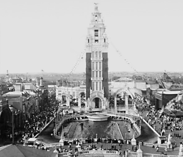 The lagoon and tower at Dreamland Park, Coney Island, Brooklyn, New York, 1907.