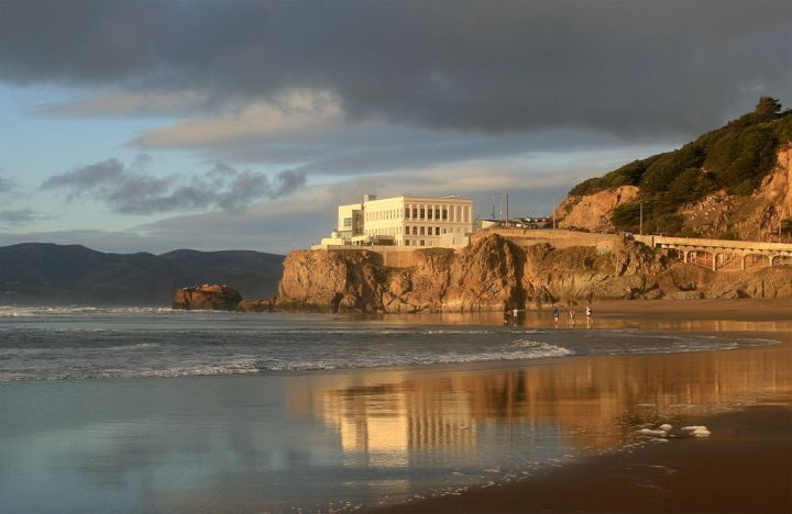 View of Cliff House from Ocean Beach