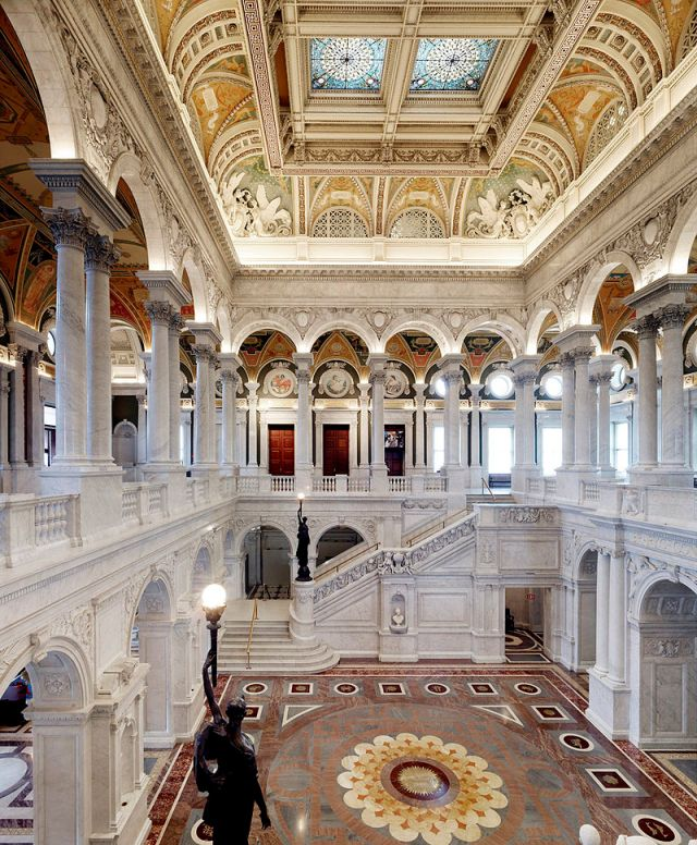 photograph of the Great Hall in the Thomas Jefferson building The Great Hall interior