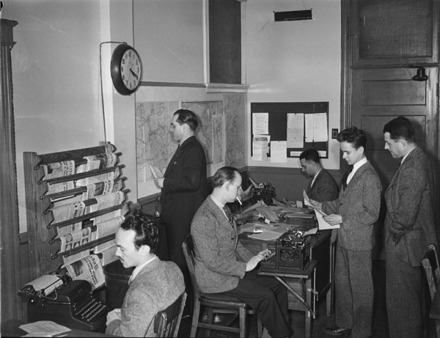 Journalists at work in Montreal circa 1940s