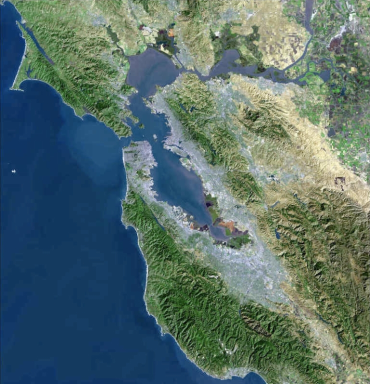 USGS Satellite photo of the San Francisco Bay Area. The San Francisco peninsula protrudes northward. San Francisco is at its tip, public domain