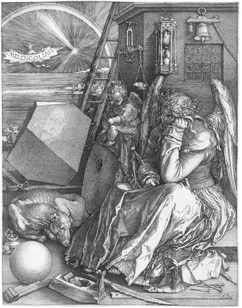 Melencolia I (B. 74; M., HOLL. 75) *engraving *24 x 18.8 cm *1514, public domain photograph