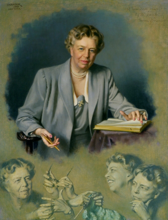 The White House Portrait of Mrs. Roosevelt painted by Douglas Chandor, 1949