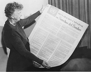 More details Roosevelt with the Spanish version of the Universal Declaration of Human Rights, which includes Franklin Roosevelt's Four Freedoms.